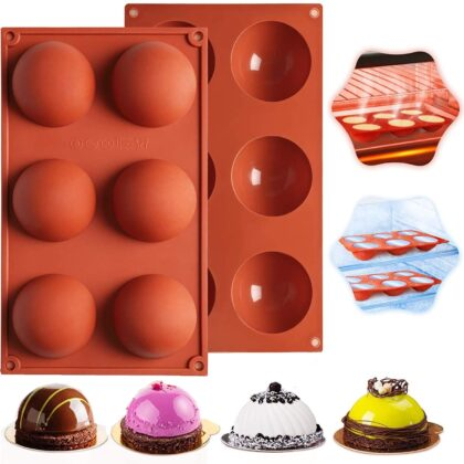 6 Cavity Large Bakeware Set Silicone Moulds Making for Cake , Candies, Jelly and Chocolates Decorations | Semicircle chocolate bomb moulds – Pack of 2 Pieces (6 Cavity)